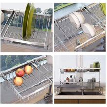 Load image into Gallery viewer, Exclusive cabina home dish drying rack over the sink stainless steel large dish rack stand drainer for kitchen supplies counter top storage shelf utensils holder silver for double sink