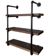 Load image into Gallery viewer, Heavy duty 2choice industrial pipe shelving rustic shelves solid canadian wood vintage sleek pipe shelves for floating bookshelf kitchen living room versatile home decor wall mounted storage 3 tier