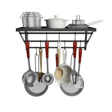 Load image into Gallery viewer, Related homevol kitchen wall mounted pot rack with 10 hooks multi functional storage rack shelf organizer ideal for bathroom household items and kitchen cookware utensils pans books