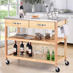 Save on giantex kitchen trolley cart rolling island cart serving cart large storage with stainless steel countertop lockable wheels 2 drawers and shelf utility cart for home and restaurant solid pine wood