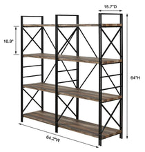 Load image into Gallery viewer, Storage organizer homissue 4 shelf industrial double bookcase and book shelves storage rack display stand etagere bookshelf with open 8 shelf retro brown 64 2 inch height