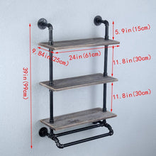 Load image into Gallery viewer, Select nice industrial bathroom shelves wall mounted with 2 towel bar 24in rustic pipe shelving 3 tiered wood shelf black farmhouse towel rack metal floating shelves towel holder iron distressed shelf over toilet