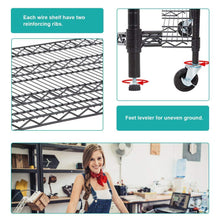 Load image into Gallery viewer, Purchase 5 wire shelving unit steel large metal shelf organizer garage storage shelves heavy duty nsf certified commercial grade height adjustable rack 5000 lbs capacity on 4 wheels 24d x 48w x 76h black