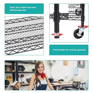 Purchase 5 wire shelving unit steel large metal shelf organizer garage storage shelves heavy duty nsf certified commercial grade height adjustable rack 5000 lbs capacity on 4 wheels 24d x 48w x 76h black