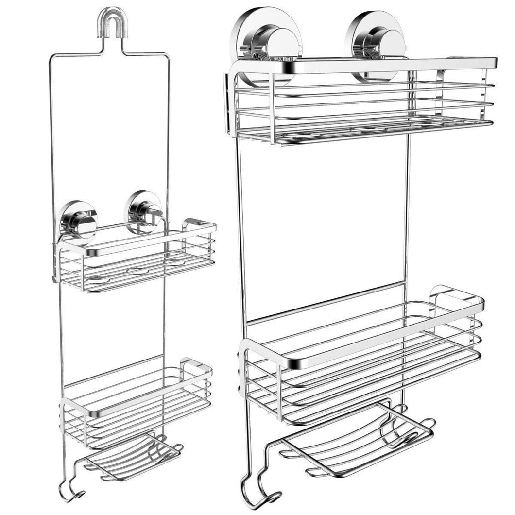 Cheap vidan home solutions shower caddy dual installation hanging or mounted rustproof multi shelf basket shower organizer includes soap dish and hooks for razor towels shampoo and conditioner