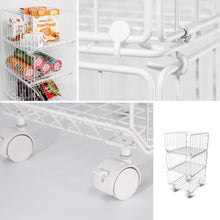 Load image into Gallery viewer, Discover the best pup joint metal wire baskets 3 tiers foldable stackable rolling baskets utility shelf unit storage organizer bin with wheels for kitchen pantry closets bedrooms bathrooms