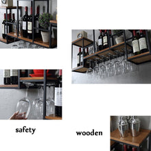 Load image into Gallery viewer, Try industrial wall mounted loft retro iron metal wine rack shelf wine bottle glass rack bar shelf wood holder 12 wine glass storage unit floating shelves wine glass rack for restaurants daily home