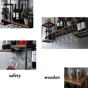 Try industrial wall mounted loft retro iron metal wine rack shelf wine bottle glass rack bar shelf wood holder 12 wine glass storage unit floating shelves wine glass rack for restaurants daily home