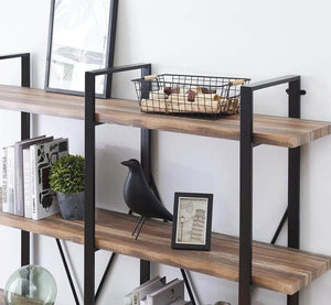 Get o k furniture double wide 5 tier open bookcases furniture vintage industrial etagere bookshelf large book shelves for home office decor display retro brown