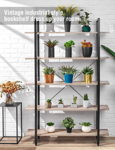 Best seller  oraf bookshelf 5 tier 47lx13wx70h inches bookcase solid 130lbs load capacity industrial bookshelf sturdy bookshelves with steel frame assemble easily storage organizer home office shelf wood grain