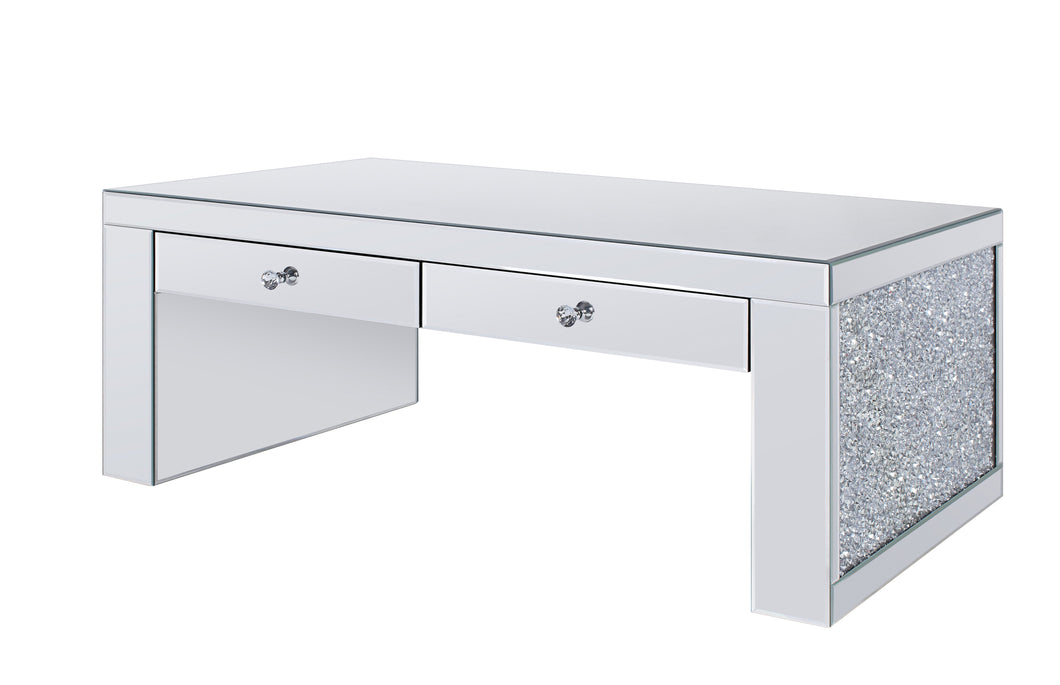 Acme Noralie Coffee Table With Mirrored And Faux Diamonds Finish 81475