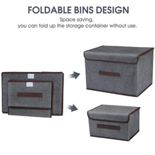 Load image into Gallery viewer, Home foldable storage boxes with lids 2 set of linen fabric cubes with handles for shelf closet book kid toy nursery organize grey