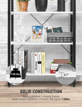 Load image into Gallery viewer, Discover the oraf bookshelf 5 tier 47lx13wx70h inches bookcase solid 130lbs load capacity industrial bookshelf sturdy bookshelves with steel frame assemble easily storage organizer home office shelf modern white