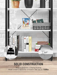 Discover the oraf bookshelf 5 tier 47lx13wx70h inches bookcase solid 130lbs load capacity industrial bookshelf sturdy bookshelves with steel frame assemble easily storage organizer home office shelf modern white