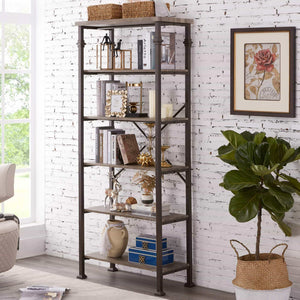 Latest hombazaar 6 tier tall bookshelf vintage industrial metal bookcase display rack and storage organizer for living room grey oak