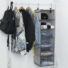 Load image into Gallery viewer, Latest storageworks hanging closet organizer 6 shelf closet organizer 2 ways dorm closet organizers and storage sweater organizer for closet gray 12x12x42 inches