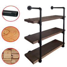 Load image into Gallery viewer, Great 2choice industrial pipe shelving rustic shelves solid canadian wood vintage sleek pipe shelves for floating bookshelf kitchen living room versatile home decor wall mounted storage 3 tier