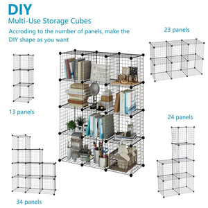Amazon best tespo wire cube storage shelves book shelf metal bookcase shelving closet organization system diy modular grid cabinet 12 cubes