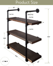 Load image into Gallery viewer, New 2choice industrial pipe shelving rustic shelves solid canadian wood vintage sleek pipe shelves for floating bookshelf kitchen living room versatile home decor wall mounted storage 3 tier