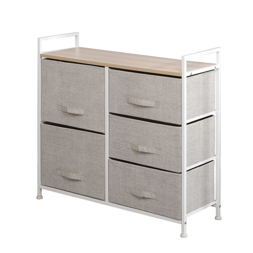 soges 5-Drawer Storage Organizer Unit for Bedroom, Play Room, Closets, Entryway, Free Standing Rack, Metal Frame with Fabric Bin, Beige 107-BM
