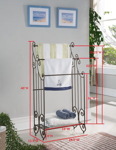 Featured kings brand furniture 1419 metal free towel rack stand with shelf pewter