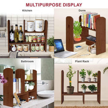 Load image into Gallery viewer, Related expandable natural bamboo desk organizer accessory adjustable desktop shelf rack multipurpose display for office kitchen books flowers and plants brown