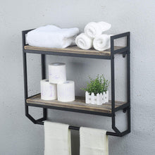 Load image into Gallery viewer, Discover the best 2 tier metal industrial 23 6 bathroom shelves wall mounted rustic wall shelf over toilet towel rack with towel bar utility storage shelf rack floating shelves towel holder black brush silver