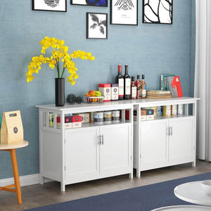 Selection homfa kitchen sideboard storage cabinet large dining buffet server cupboard cabinet console table with display shelf and double doors white