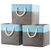 Load image into Gallery viewer, Products prandom large foldable cube storage baskets bins 13x13 inch 3 pack fabric linen collapsible storage bins cubes drawer with cotton handles organizer for shelf toy nursery closet bedroomgray blue