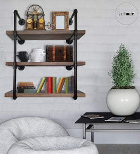 Home 2choice industrial pipe shelving rustic shelves solid canadian wood vintage sleek pipe shelves for floating bookshelf kitchen living room versatile home decor wall mounted storage 3 tier