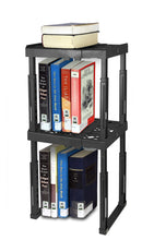 Load image into Gallery viewer, Save tools for school locker shelf adjustable width 8 12 1 2 and height 9 3 4 14 stackable and heavy duty holds 40 lbs per shelf black double