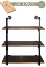 Load image into Gallery viewer, On amazon 2choice industrial pipe shelving rustic shelves solid canadian wood vintage sleek pipe shelves for floating bookshelf kitchen living room versatile home decor wall mounted storage 3 tier
