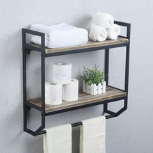 Load image into Gallery viewer, Discover 2 tier metal industrial 23 6 bathroom shelves wall mounted rustic wall shelf over toilet towel rack with towel bar utility storage shelf rack floating shelves towel holder black brush silver