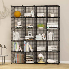 Load image into Gallery viewer, Budget friendly unicoo multi use diy 20 cube wire grid organizer wardrobe organizer bookcase book shelf storage organizer wardrobe closet black wire