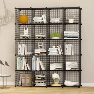 Budget friendly unicoo multi use diy 20 cube wire grid organizer wardrobe organizer bookcase book shelf storage organizer wardrobe closet black wire