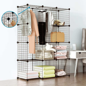 Amazon tespo wire cube storage shelves book shelf metal bookcase shelving closet organization system diy modular grid cabinet 12 cubes