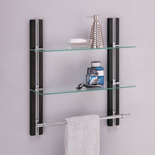 Load image into Gallery viewer, Online shopping organize it all mounted 2 tier adjustable tempered glass shelf with chrome towel bar