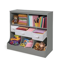 Load image into Gallery viewer, Heavy duty freestanding combo shelf cubby bin storage organizer unit with 3 baskets