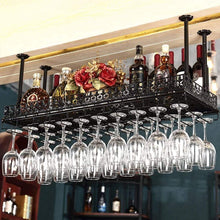 Load image into Gallery viewer, Purchase warm van industrial metal vintage bar wall mounted wine racks wine glass hanging rack under cabinet cup shelf restaurant cafe kitchen organization and storage shelveblack 47 2l