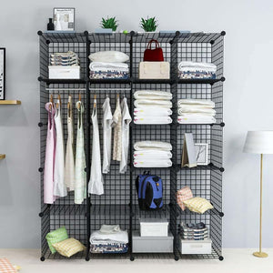 Budget unicoo multi use diy 20 cube wire grid organizer wardrobe organizer bookcase book shelf storage organizer wardrobe closet black wire