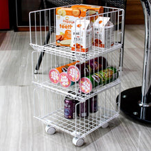 Load image into Gallery viewer, Explore pup joint metal wire baskets 3 tiers foldable stackable rolling baskets utility shelf unit storage organizer bin with wheels for kitchen pantry closets bedrooms bathrooms