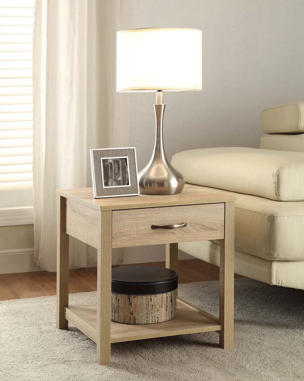 Aspen End Table in Blonde Finish