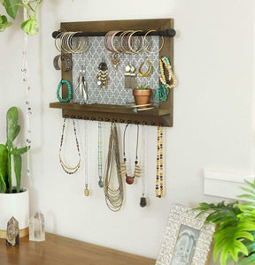 Organize with wall necklace holder and jewelry organizer large rustic hanging display includes bracelet bar earrings grid 18 hooks and shelf perfect gift for bridal shower women girls or dorm room