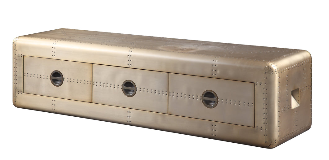Acme Industrial Jennavieve Media Cabinet With Gold Aluminum Finish 91564