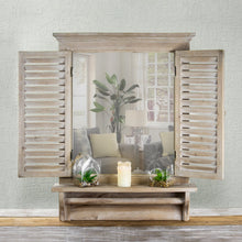 Load image into Gallery viewer, Cheap american art decor rustic country window shutter wall vanity accent mirror with shelf and towel rod 28 25h x 21l x 4 75d