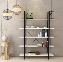 Load image into Gallery viewer, Buy oraf bookshelf 5 tier 47lx13wx70h inches bookcase solid 130lbs load capacity industrial bookshelf sturdy bookshelves with steel frame assemble easily storage organizer home office shelf modern white
