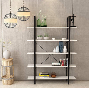 Buy oraf bookshelf 5 tier 47lx13wx70h inches bookcase solid 130lbs load capacity industrial bookshelf sturdy bookshelves with steel frame assemble easily storage organizer home office shelf modern white