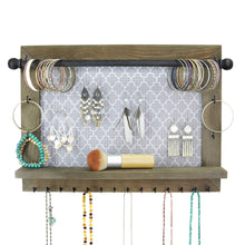 Load image into Gallery viewer, Kitchen wall necklace holder and jewelry organizer large rustic hanging display includes bracelet bar earrings grid 18 hooks and shelf perfect gift for bridal shower women girls or dorm room