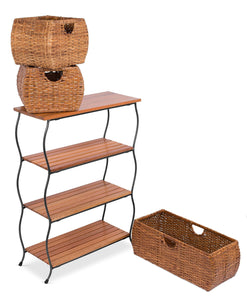 Best birdrock home industrial 4 tier shelving unit with rattan woven baskets delivered fully assembled wooden freestanding shelves with storage bins decorative living room shelf