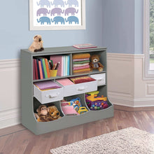 Load image into Gallery viewer, Latest freestanding combo shelf cubby bin storage organizer unit with 3 baskets